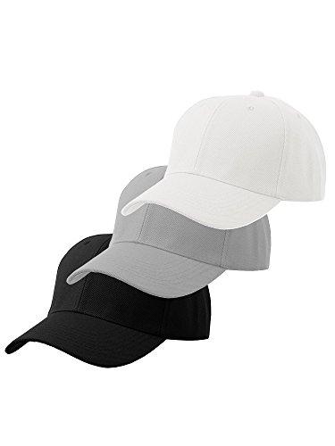 White Baseball Cap Set - Men's Plain Baseball Cap Velcro Adjustable Curved Visor Hat-3P Black Light Grey White