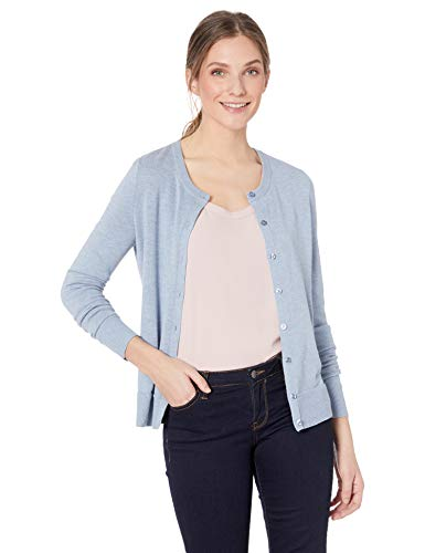 Amazon Essentials Women's Lightweight Crewneck Cardigan Sweater, Light Indigo Heather, X-Large