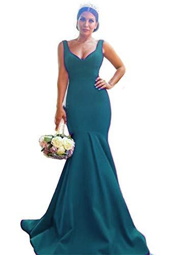 liangjinsmkj Mermeaid Prom Dress V-Neck Satin Long Evening Party Gowns Bridesmaids Teal US16 -