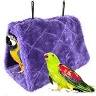 Winter Warm Bird Nest House Shed Hut Hanging Hammock Finch Cage Plush Fluffy Birds Hut Hideaway for Hamster Parrot Macaw Budgies Eclectus Parakeet Cockatiels Cockatoo Lovebird (L, Purple)