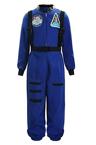 ReliBeauty Boys Girls Kids Children Astronaut Role Play Costume, Royal, -