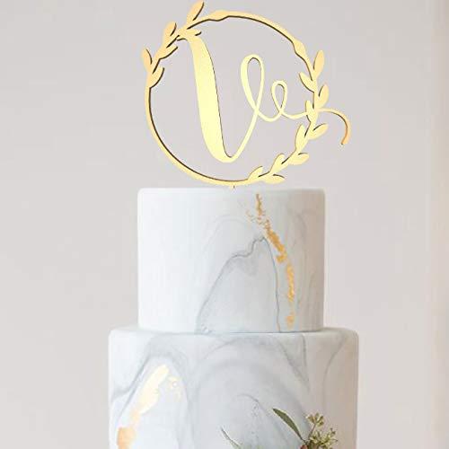 Custom Glitter Rustic Cake Topper Calligraphy V Letter Wooden Monogram Cake Topper Initial Wedding Cursive Natural Cake ()