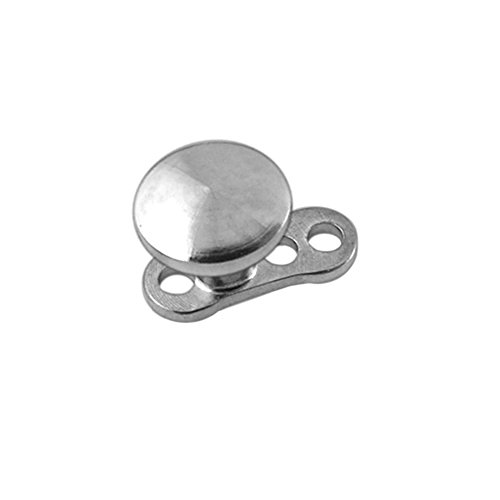 2.5MM Disc 316L Surgical Steel Top with Titanium Base Micro Dermal Anchor (316l Surgical Steel Top)