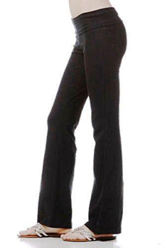Junior Plus Size Yoga Long Stretch Pants Cotton Spandex Rollover Waist Sizes 1XL 2XL 3XL (Rollover Pants Lounge)