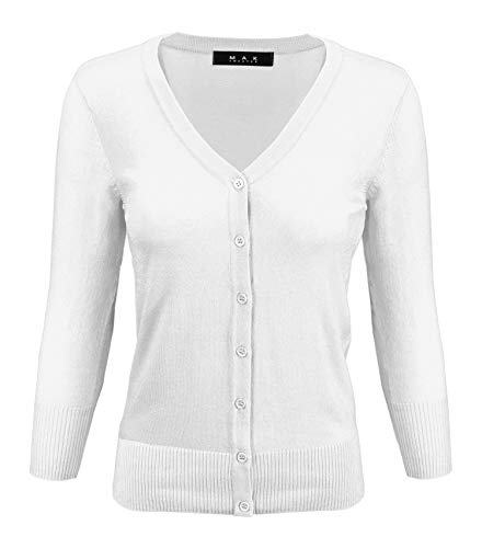 Women's V-Neck Button Down Knit Cardigan Sweater Vintage Inspired CO078-WHT-S White ()