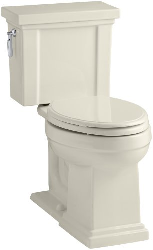 KOHLER K-3950-47 Tresham Comfort Height Two-Piece Elongated 1.28 GPF Toilet with AquaPiston Flush Technology and Left-Hand Trip Lever, Almond