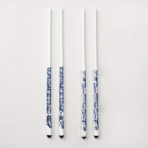 Ceramic Chopsticks Set of 2 White With Blue Water Design - Reusable