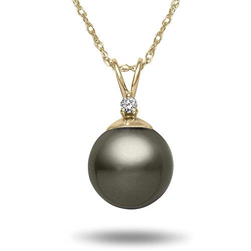 TARA Legacy 8-9 mm Tahitian Cultured Pearl and .02cttw Diamond 14k Gold Pendant, 18