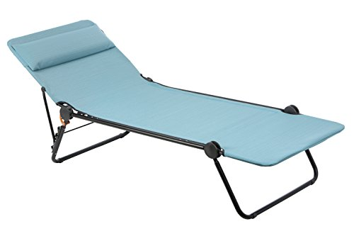 Lafuma Sunside Folding Sunbed - Black Frame with Aqua Bat...