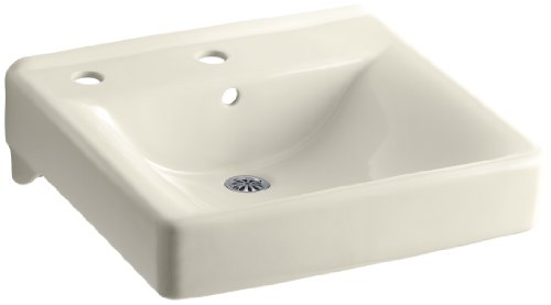 KOHLER K-2084-L-47 Soho Wall-Mount Bathroom Sink with Single-Hole Faucet Drilling and Left-Hand Soap/Lotion Dispenser Drilling, ()