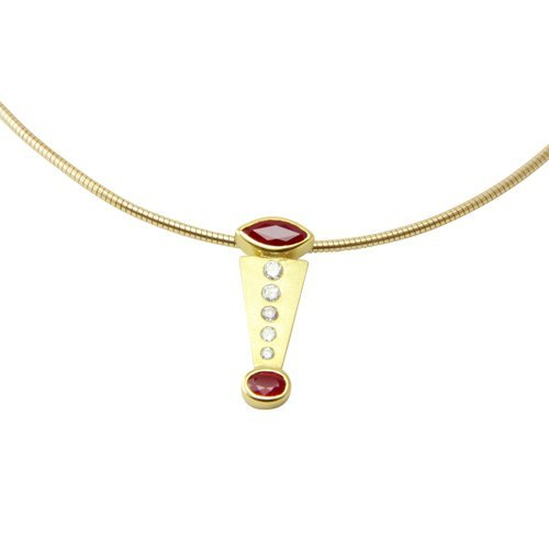 SKIELKA dESIGNSCHMUCK unique pendentif or rubis goldschmiedearbeit (or jaune 585 goldanhänger) - 1.80 carats avec rubis et diamants avec expertise pendentif en rubis