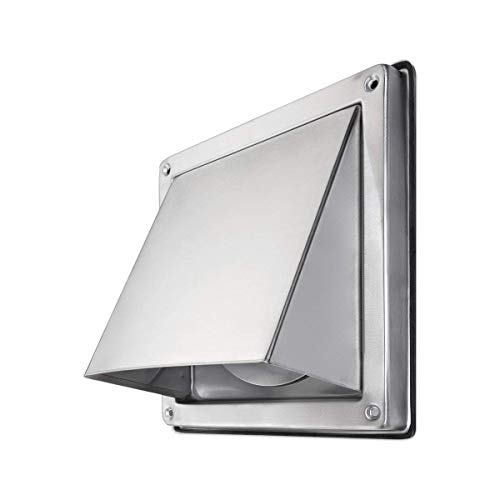 calimaero HWG 4 Inch Cowled Square Exhaust Wall Vent with Cushioned Non Return Flap (Dryer Metal Vent Hood)