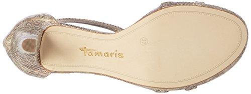 Tamaris 28006, Sandalias con Tira a T para Mujer Plateado (Gold Structure 953)