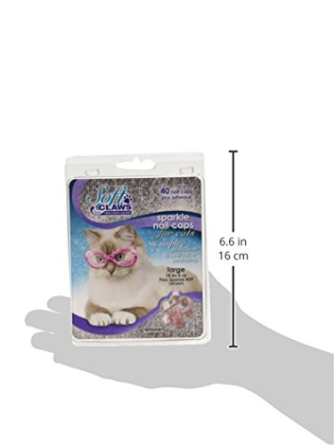 Image of Feline Soft Claw Nail Caps, Large, Pink Sparkle