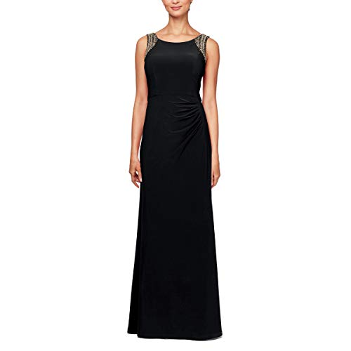 Alex Evenings Women's Beaded Scoop Back Dress with Side Ruched Skirt, Black, 14