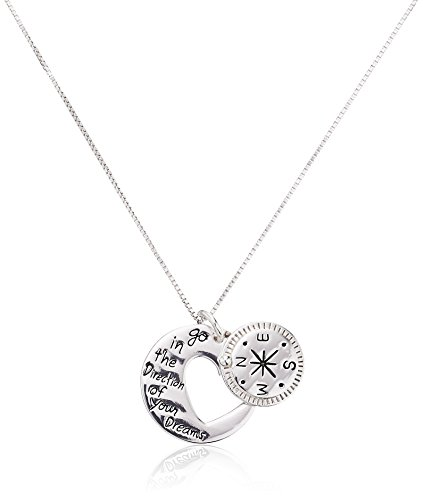 """Sterling Silver """"Go in the Direction Of Your Dreams"""" with Compass Pendant Necklace, 18″"""