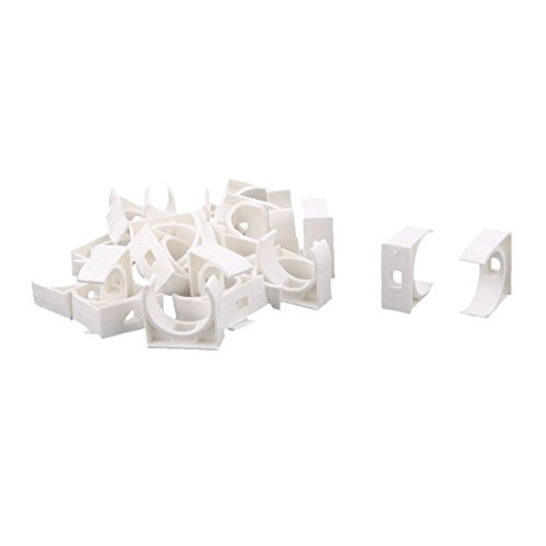 uxcell PVC Home U Shaped Water Supply Pipe Hose Holder Clamps Clips 25mm Dia 25 Pcs White