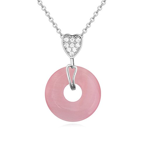Winter's Secret 18K White Gold Plated Diamond Accented Heart with Circle Pink Opal Pendant ()