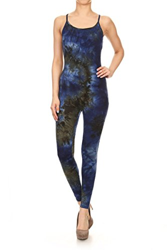 Leggings Depot Premium Quality Cotton Spandex Jersey Tank Unitard Jumpsuit Romper Gym (Small, Neptune EGO)