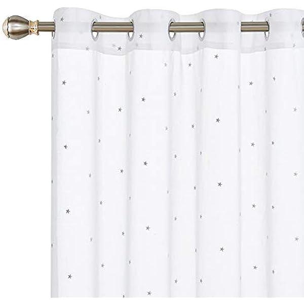 Deconovo Visillos Bordados Cortos para Ventanas Salón Infantil con Ojales 140 X 175 cm 2 Piezas Estrella Gris: Amazon.es: Hogar