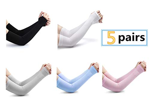 - Alikeke 5 Pairs Unisex UV Long Sleeves Sun Protection Cooling Long Sleeves arm Cover Sleeves,5 Colors