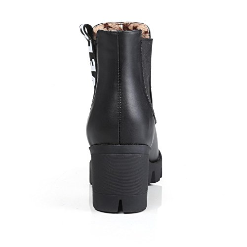 Closed Allhqfashion Assorted Pull Boots Kitten Black PU Round Toe Women's Color On Heels 5YqFp