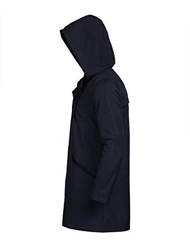 COOFANDY Men's Waterproof Rain Jacket with Hood Lightweight Packable Outdoor Long Raincoat
