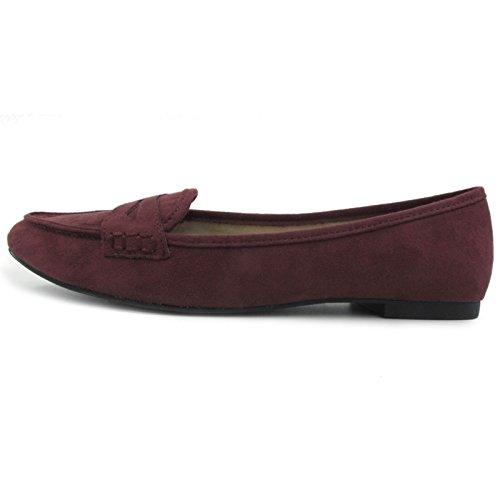 Greatonu Chaussures Femme Mocassins Suédé Plat EU 41 Motif Bordeaux