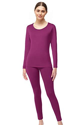 Womens Super Comfy Fleece Lined Thermal Underwear Long Johns Set AZ 2000 Wine XXL