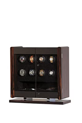 Avanti 8 Rotorwind Watch Winder Enclosed in a Handsome Italian-made Macassar Veneer and Carbon Fiber Cabinet