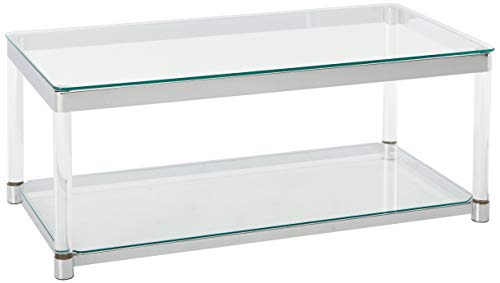 Coaster 720748-CO Glass Top Coffee Table, Chrome ()
