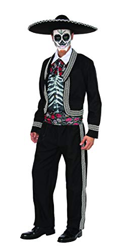 Pizazz! Men's Adult Senor Muerto Costume, Black/White/Red/Green, ()