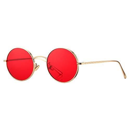 COASION Vintage Round Metal Sunglasses John Lennon Style Small Unisex Sun Glasses (Gold Frame/Red Lens)