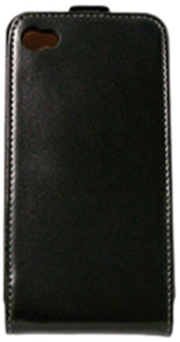 KSIX B0917FU70 Leder Flip Up Case für Apple iPhone 4 schwarz