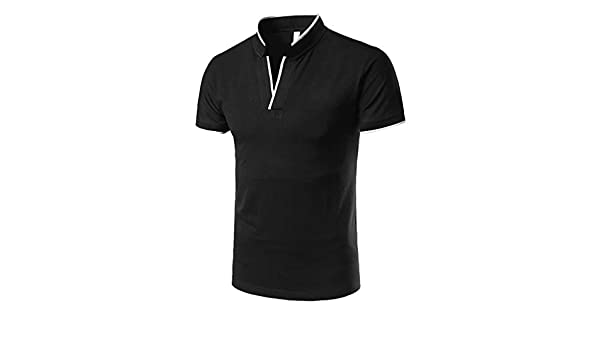 AG&T Hombre Polo Camiseta Manga Corta Henley Algodón Clásico Polo ...
