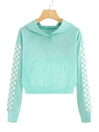 Imily Bela Kids Crop Tops Girls Hoodies Cute Plaid Long Sleeve Fashion Sweatshirts (10-12 Years/Height:55in, Z2-Green)