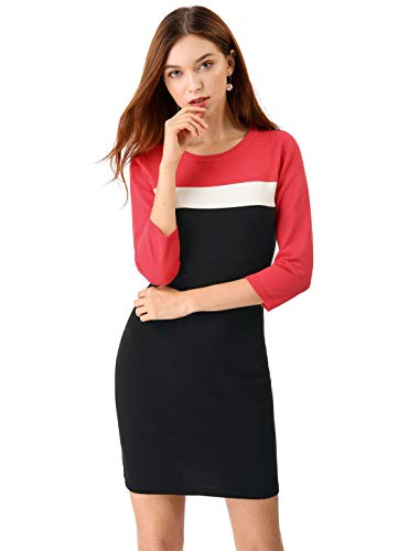 Allegra K Women's Crew Neck Color Block Stretched Bodycon Knitted Sweater Dress S Black