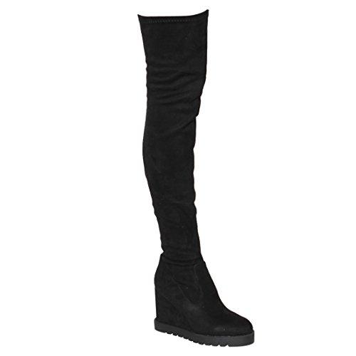 Beston EJ06 Womens Stretchy Snug Fit Platform Side Zip Thigh High Wedge Boots Black