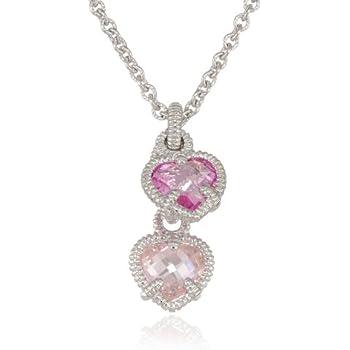 Amazon judith ripka linen silver twin heart pink pendant judith ripka linen silver twin heart pink pendant necklace 17 aloadofball Images