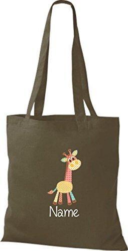 Stoffbeutel mit süßen Motiven inkl. Ihrem Wunschnamen Giraffe Olive qHqxau