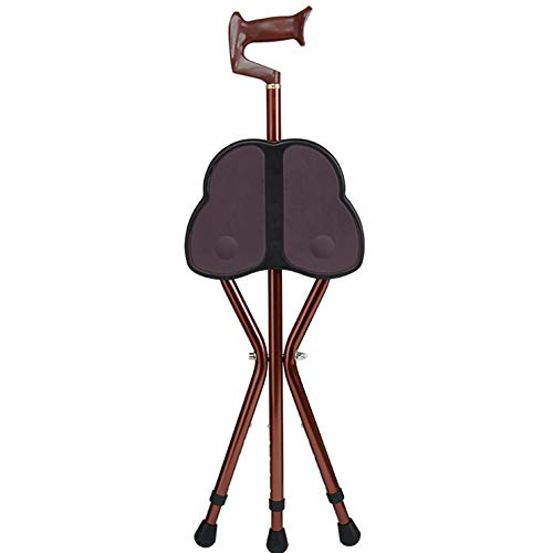 (Folding Lightweight Cane Seat Walking Chair Walking Stick Stool Adjustable Height Walker Butterfly seat Suitable for The Elderly, Walking Inconvenience,Brown1)