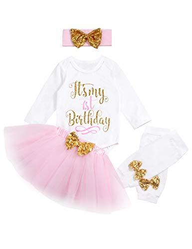 6456336954b6 My 1st Birthday Baby Girl Romper   Tutu Skirt   Headband   Leg ...
