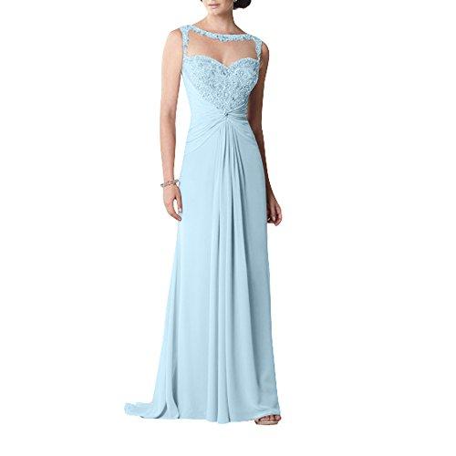 Abendkleider Blau Festlichkleider Kleider Himmel Standsamt Langes Herrlich Chiffon Brautmutterkleider mit La Abschlussballkleider Brau mia Perlen nx0qz6Z