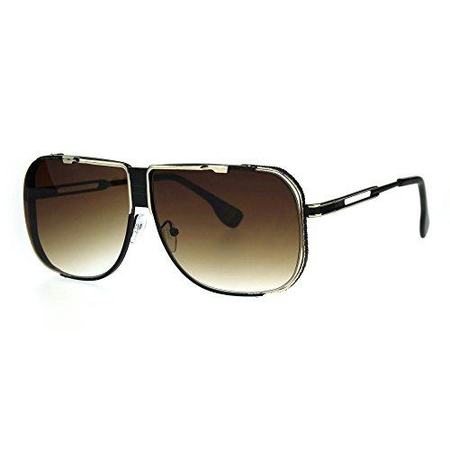 Rimless Exposed Lens Racer Metal Rim Mobster Aviator Rectangular Sunglasses Gold - Rim Sunglasses Gold Aviator