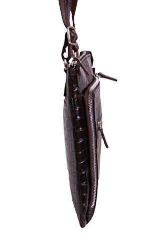 Echtes Leder Crossbody Umhängetasche iPad Tablet Reisen Lässig Braun Krokodildruck Unisex Tasche - A95