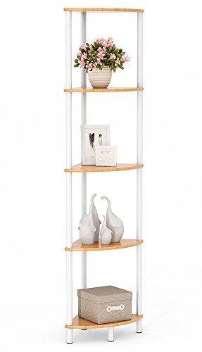 Tribesigns Bamboo Bathroom Corner Shelf, Water Resistant 5 Tier Corner Storage Shelves for Shower, Living Room, Kitchen (5 Tier)