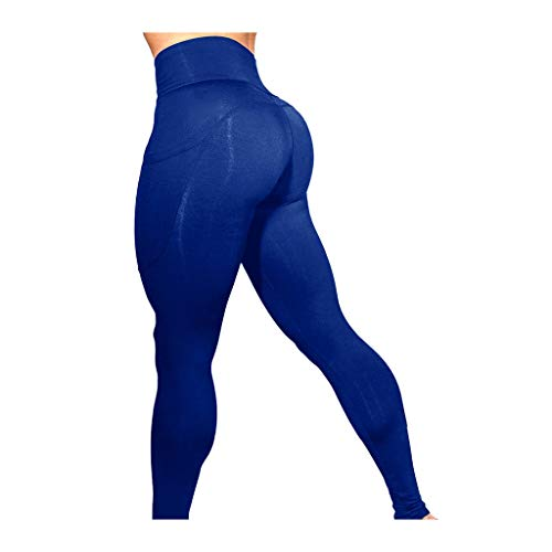 (URIBAKE ❤ Women's Workout Leggings Mid Waist Solid Fitness Sports Gym Running Yoga Athletic Pants Blue)