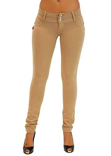 Premium Stretch Cotton Butt lifting, Levanta Cola, Skinny Leg Premium French Terry Fashion Moleton in Beige Size M