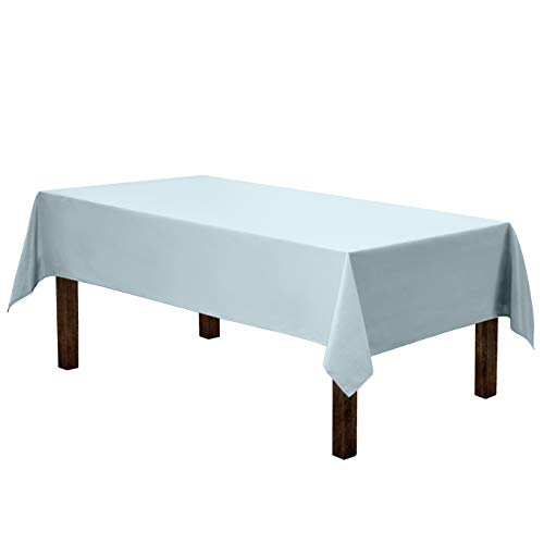 Gee Di Moda Rectangle Tablecloth - 60 x 84 Inch - Baby Blue Rectangular Table Cloth for 5 Foot Table in Washable Polyester - Great for Buffet Table, Parties, Holiday Dinner, Wedding & More (Light Blue Linen Tablecloth)