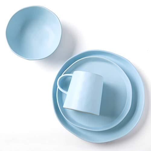 Matte Place Set - Le Tauci 4 Piece Matte Glaze Dinnerware Set, Blue